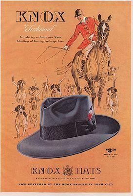 ORIG VINTAGE MAGAZINE AD/ 1941 KNOX HAT ADillustrator- N/A - Product Image
