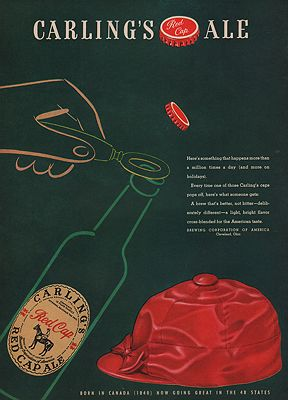 ORIG VINTAGE MAGAZINE AD/ 1942 CARLING'S RED CAP ALE ADillustrator- N/A - Product Image