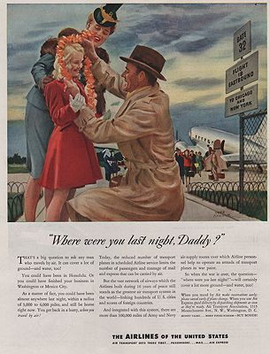 ORIG VINTAGE MAGAZINE AD/ 1943 AIRLINES OF THE UNITED STATES ADillustrator- John  Gannam - Product Image
