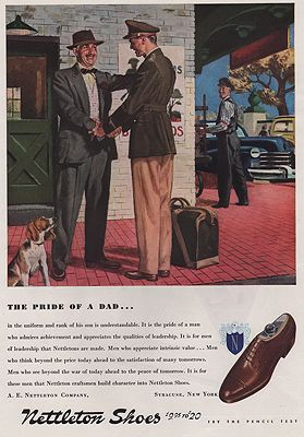 ORIG VINTAGE MAGAZINE AD/ 1943 NETTLESON SHOES ADillustrator- George  Hughes - Product Image