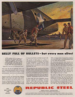 ORIG VINTAGE MAGAZINE AD/ 1943 REPUBLIC STEEL ADillustrator- Peter  Helck - Product Image