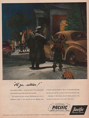ORIG VINTAGE MAGAZINE AD/ 1944 PACIFIC MILLS ADillustrator- Peter  Helck - Product Image