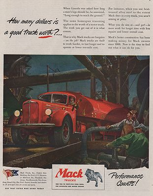 """<p class=""""ttl"""">ORIG VINTAGE MAGAZINE AD/ 1945 MACK TRUCK AD<p><span class=""""by"""">illustrator-</span> <span class=""""athr"""">Peter  Helck</span>"""