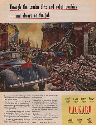 ORIG VINTAGE MAGAZINE AD/ 1945 PACKARD CAR ADillustrator- Peter  Helck - Product Image