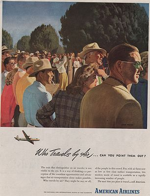 ORIG VINTAGE MAGAZINE AD/ 1946 AMERICAN AIRLINES ADillustrator- John  Falter - Product Image
