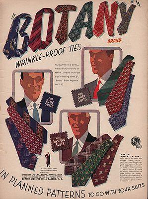 ORIG VINTAGE MAGAZINE AD/ 1946 BOTANY TIES ADillustrator- N/A - Product Image