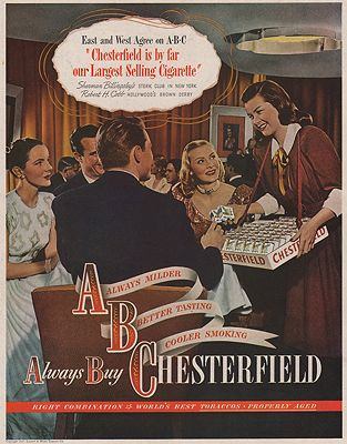 ORIG VINTAGE MAGAZINE AD/ 1947 CHESTERFIELDS CIGARETTE ADillustrator- N/A - Product Image
