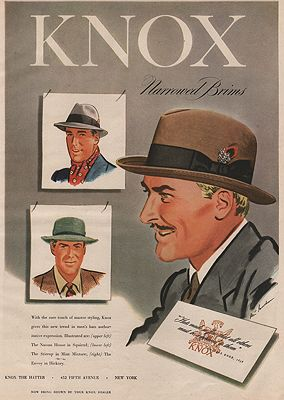 ORIG VINTAGE MAGAZINE AD /1947 KNOX HAT ADGoodman (Illust.), Robert, Illust. by: Robert  Goodman - Product Image