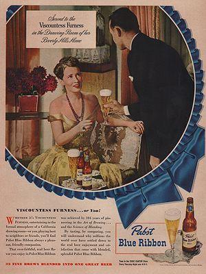 ORIG VINTAGE MAGAZINE AD/ 1948 PABST BLUE RIBBON BEERillustrator- N/A - Product Image