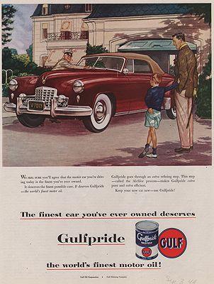 ORIG VINTAGE MAGAZINE AD/ 1949 GULFPRIDE OIL ADillustrator- James  Williamson - Product Image