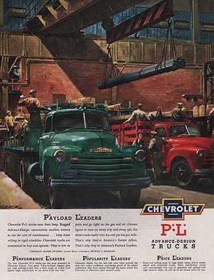ORIG VINTAGE MAGAZINE AD/ 1950 CHEVROLET TRUCK ADillustrator- Peter  Helck - Product Image