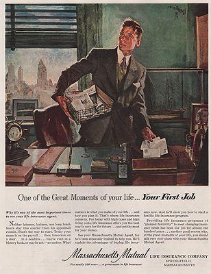 ORIG VINTAGE MAGAZINE AD/ 1951 MASSACHUSETTS MUTUAL LIFE INSURANCE CO. ADillustrator- C.C.  Beall - Product Image