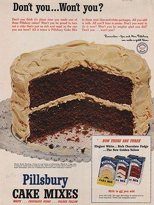 ORIG VINTAGE MAGAZINE AD/ 1952 PILLSBURY CAKE MIX ADillustrator- N/A - Product Image