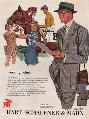 ORIG VINTAGE MAGAZINE AD/ 1953 HART SCHAFFNER & MARX ADillustrator- Tom  Hall - Product Image