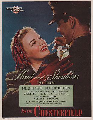 ORIG VINTAGE MAGAZINE AD/ 1955 CHESTERFIELD CIGARETTES ADillustrator- N/A - Product Image