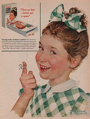 ORIG VINTAGE MAGAZINE AD/ 1955 KELLOGG'S CORN FLAKES ADillustrator- Norman  Rockwell - Product Image