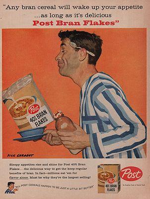 ORIG VINTAGE MAGAZINE AD/ 1957 POST BRAN FLAKES CEREAL ADillustrator- Dick  Sargent - Product Image