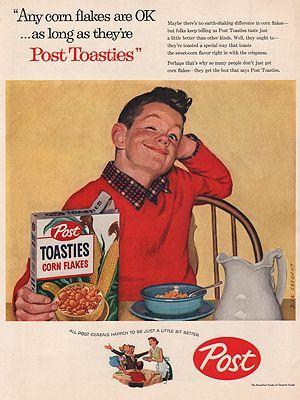 ORIG VINTAGE MAGAZINE AD/ 1957 POST TOASTIES CEREAL ADillustrator- Dick  Sargent - Product Image