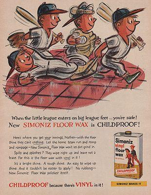 ORIG VINTAGE MAGAZINE AD/ 1959 SIMONIZ FLOOR WAX ADillustrator- Whitney  Darrow, Jr. - Product Image