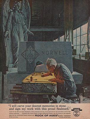ORIG VINTAGE MAGAZINE AD/ 1963 ROCK OF AGES ADillustrator- Norman  Rockwell - Product Image