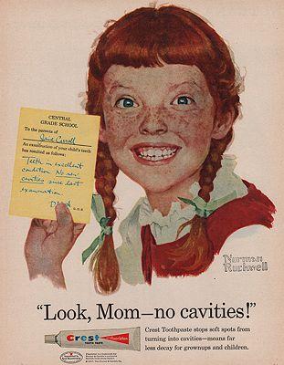 ORIG VINTAGE MAGAZINE AD/1957 CREST TOOTHPASTE ADillustrator- Norman  Rockwell - Product Image