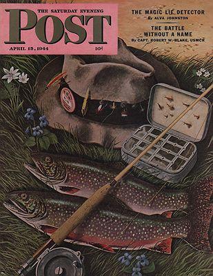 ORIG VINTAGE MAGAZINE COVER - SATURDAY EVENING POST - APRIL 15 1944illustrator- John  Atherton - Product Image
