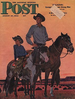 ORIG VINTAGE MAGAZINE COVER - SATURDAY EVENING POST - AUGUST 19 1944illustrator- Fred  Ludekens - Product Image