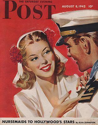 ORIG. VINTAGE MAGAZINE COVER - SATURDAY EVENING POST - AUGUST 8 1942illustrator- Jon  Whitcomb - Product Image