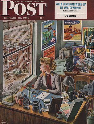 ORIG. VINTAGE MAGAZINE COVER - SATURDAY EVENING POST - FEBRUARY 12 1949illustrator- Constantin  Alajalov - Product Image