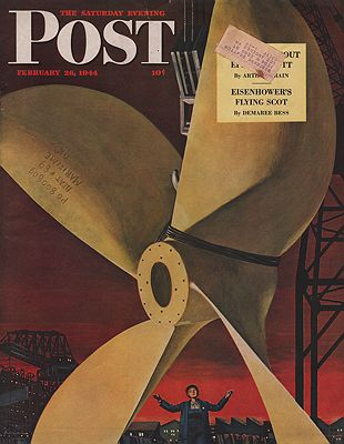 ORIG VINTAGE MAGAZINE COVER - SATURDAY EVENING POST - FEBRUARY 26 1944illustrator- Fred  Ludekens - Product Image