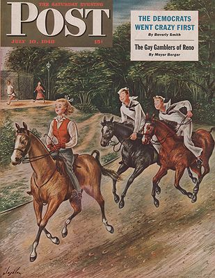ORIG. VINTAGE MAGAZINE COVER - SATURDAY EVENING POST - JULY 10 1948illustrator- Constantin  Alajalov - Product Image
