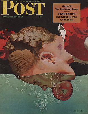 ORIG VINTAGE MAGAZINE COVER - SATURDAY EVENING POST - OCTOBER 30 1943illustrator- John Hyde  Phillips - Product Image