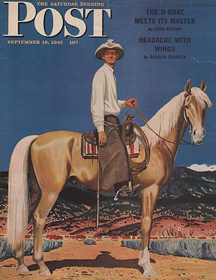 ORIG VINTAGE MAGAZINE COVER - SATURDAY EVENING POST - SEPTEMBER 18 1943illustrator- Fred  Ludekens - Product Image
