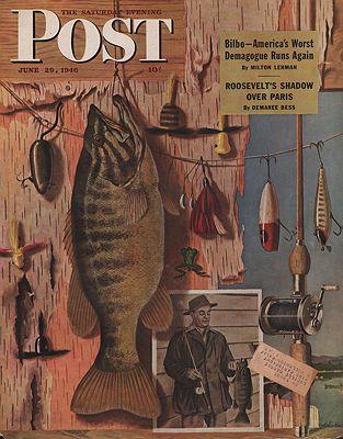 ORIG. VINTAGE MAGAZINE COVER - SATURDAY EVENING POST -JUNE 29 1946illustrator- John  Atherton - Product Image