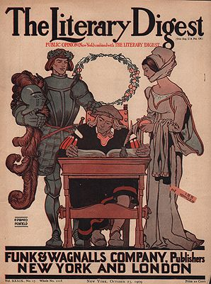 ORIG. VINTAGE MAGAZINE COVER - THE LITERARY DIGEST - OCTOBER 23 1909illustrator- Edward  Penfield - Product Image