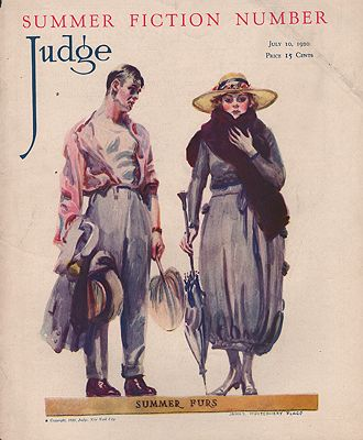 ORIG VINTAGE MAGAZINE COVER/  JUDGE - JULY 10 1920illustrator- James Montgomery   Flagg - Product Image