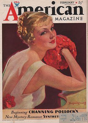 ORIG VINTAGE MAGAZINE COVER/ AMERICAN MAGAZINE - FEBRUARY 1934illustrator- Bradshaw  Crandell - Product Image