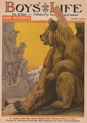 ORIG VINTAGE MAGAZINE COVER/ BOYS LIFE - JUNE 1933illustrator- Charles Livingston   Bull - Product Image