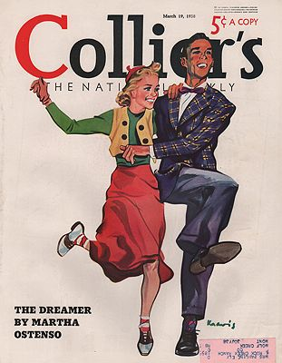 ORIG VINTAGE MAGAZINE COVER/ COLLIERS - MARCH 19 1938illustrator- Ludlow  Kravis - Product Image