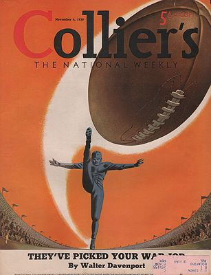 ORIG VINTAGE MAGAZINE COVER/ COLLIERS - NOVEMBER 4 1939illustrator- Henry  Heier - Product Image