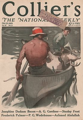 ORIG VINTAGE MAGAZINE COVER/ COLLIERS - OCTOBER 22 1921illustrator- S.N.  Abbott - Product Image
