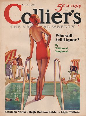 ORIG VINTAGE MAGAZINE COVER/ COLLIERS - SEPTEMBER 10 1932illustrator- T.D.  Skidmore - Product Image