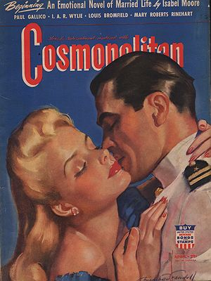 ORIG VINTAGE MAGAZINE COVER/ COSMOPOLITAN APRIL 1942illustrator- Bradshaw  Crandall - Product Image