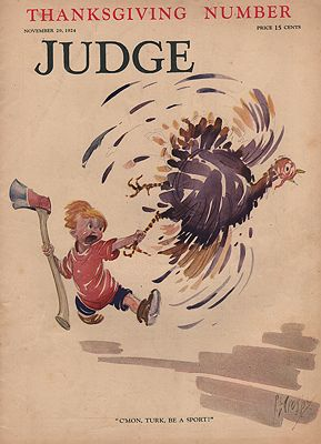 ORIG VINTAGE MAGAZINE COVER/ JUDGE - NOVEMBER 29 1924illustrator- Percy  Crosby - Product Image