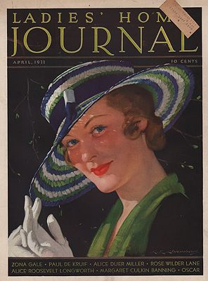 ORIG VINTAGE MAGAZINE COVER/ LADIES HOME JOURNAL - APRIL 1933illustrator- C.E.  Chambers - Product Image