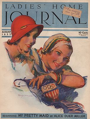 ORIG VINTAGE MAGAZINE COVER/ LADIES HOME JOURNAL - AUGUST 1932illustrator- Guy  Hoff - Product Image