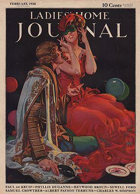 ORIG VINTAGE MAGAZINE COVER/ LADIES HOME JOURNAL - FEBRUARY 1930illustrator- E.M.  Jackson - Product Image
