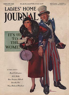 ORIG VINTAGE MAGAZINE COVER/ LADIES HOME JOURNAL - FEBRUARY 1932illustrator- E. M.  Jackson - Product Image