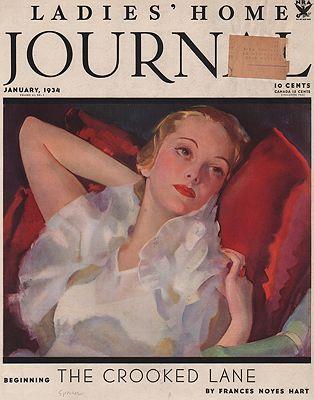 ORIG VINTAGE MAGAZINE COVER/ LADIES HOME JOURNAL - JANUARY 1934illustrator- Roy  Spreter - Product Image