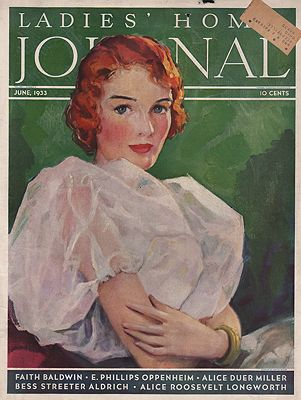 ORIG VINTAGE MAGAZINE COVER/ LADIES HOME JOURNAL - JUNE 1933illustrator- Hester  Miller - Product Image